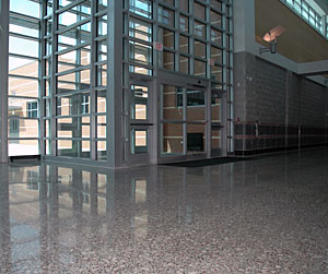 An institutional polished concrete floor